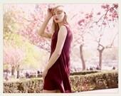 Burgundy sleevless V neck asymmetric silky LeMuse dress