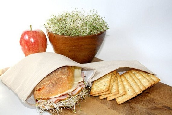 Reusable Sandwich and Snack Bag Set - Natural Cotton Linen Lunch Bags - Eco Friendly Food Storage