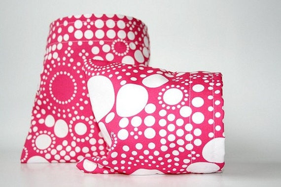 Reusable Sandwich and Snack Bag Set - Raspberry Punch - Environmentally Friendly Cotton Lunch Bags - Food Storage