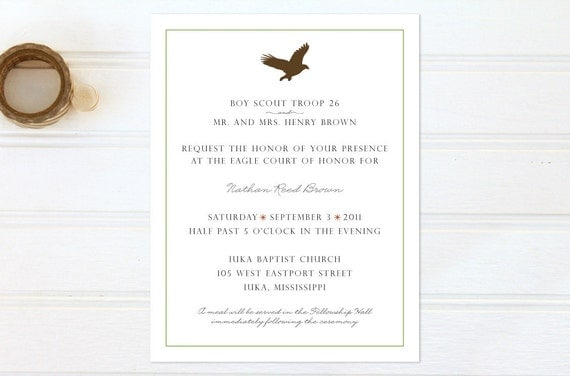 Boy Scout Eagle Invitations http://www.etsy.com/listing/83761465/eagle-scout-court-of-honor-invitations