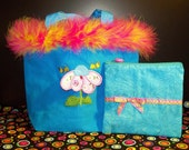 Girls tote with boa and 3d applique