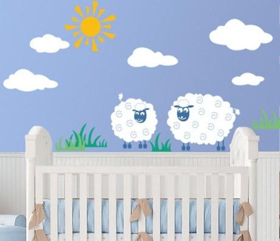 Farm Vinyl Wall Decal Art Sticker-Great for Kids-Sheep Grace Sun Cloud