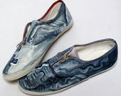 Abstract Painted Sneakers- han painted shoes- upcycled - recycled clothing- slip on -painted sneakers - 91/2
