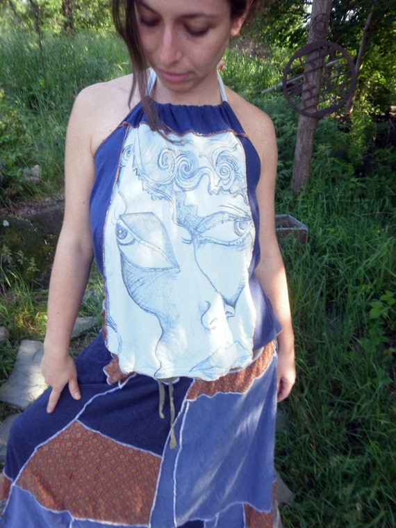 Upcycled T shirt Halter With Original Art