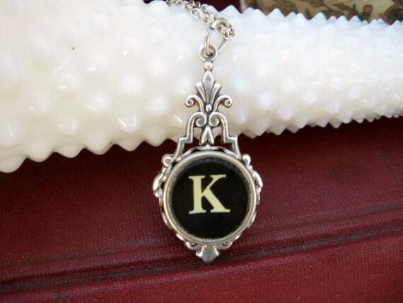 Typewriter Key Jewelry - Necklace - Letter K
