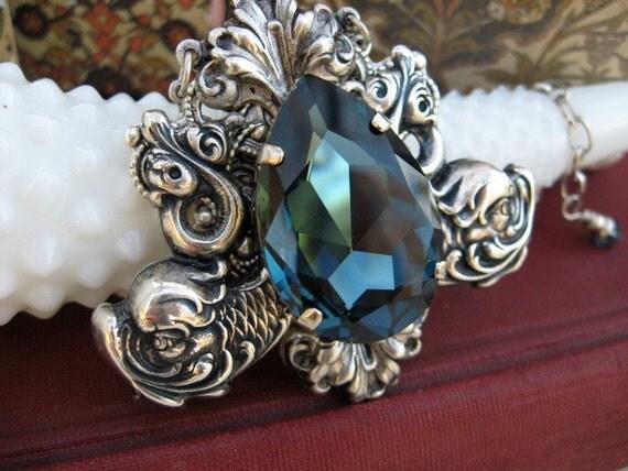 Deep Blue Swarovski Crystal Necklace