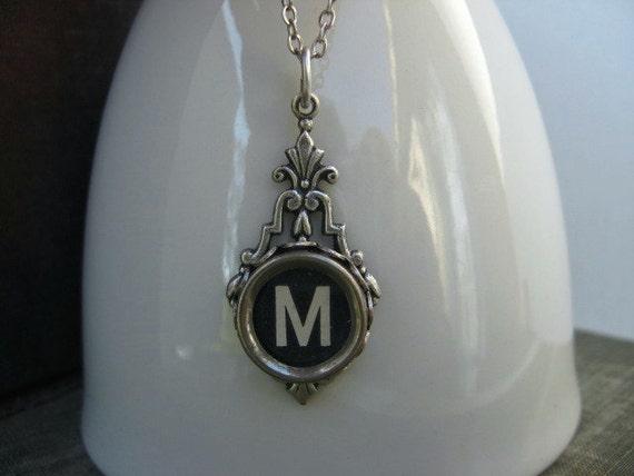 Typewriter Key Jewelry - Necklace - Letter M