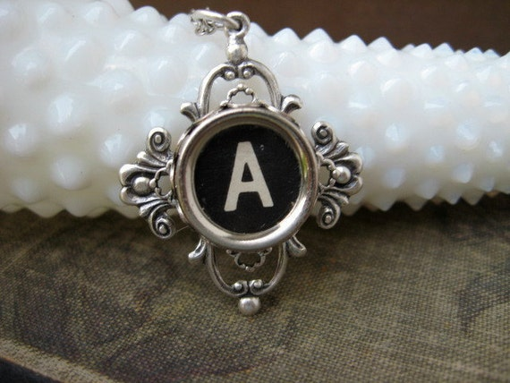 Typewriter Key Jewelry - Necklace - Letter Initial A
