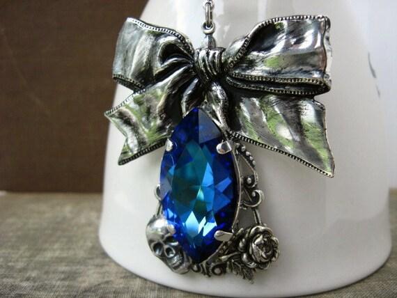Naughty or Nice Bermuda Blue Crystal Necklace