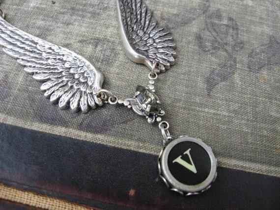 Typewriter Key Necklace - Letter V with Jewel