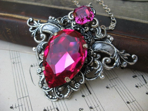 Fabulous Fuchsia Crystal in Antiqued Silver Setting