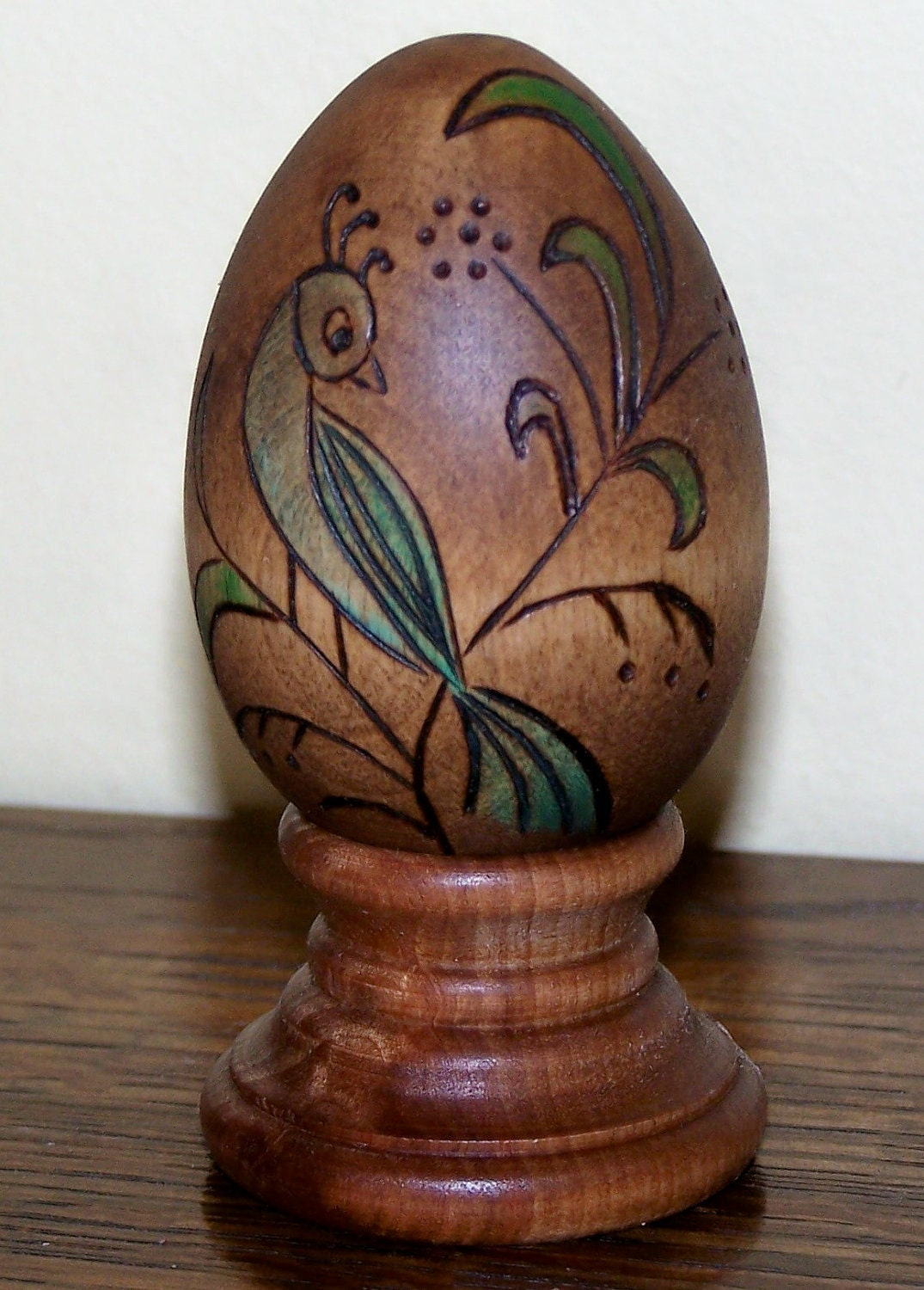 Wood Easter Egg With Woodburned Designs