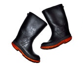 Boys Vintage 1980s Black Fireman Style Rain Boots Winter Snow marked sz 12