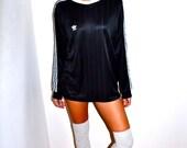 Make an Offer ADIDAS TREFOIL Vintage 1980s Black and White Striped Soccer Jersey Long Sleeve Shirt Mens Medium M