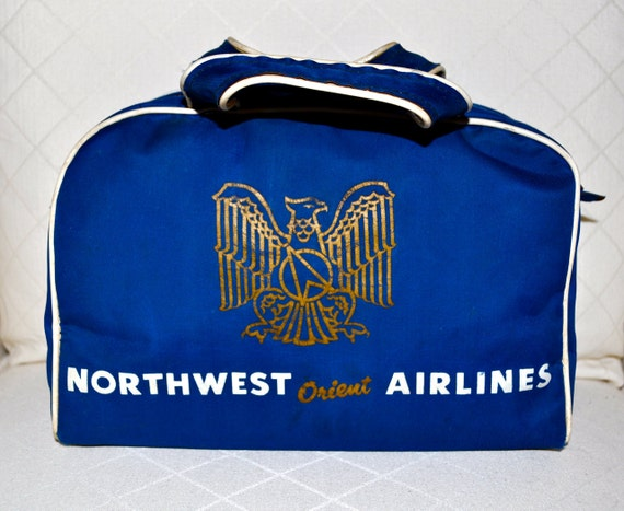 NORTHWEST ORIENT AIRLINES 1950s Souvenir Zippered Travel Bag Rare Collectors Item Like Twa klm and Pan Am