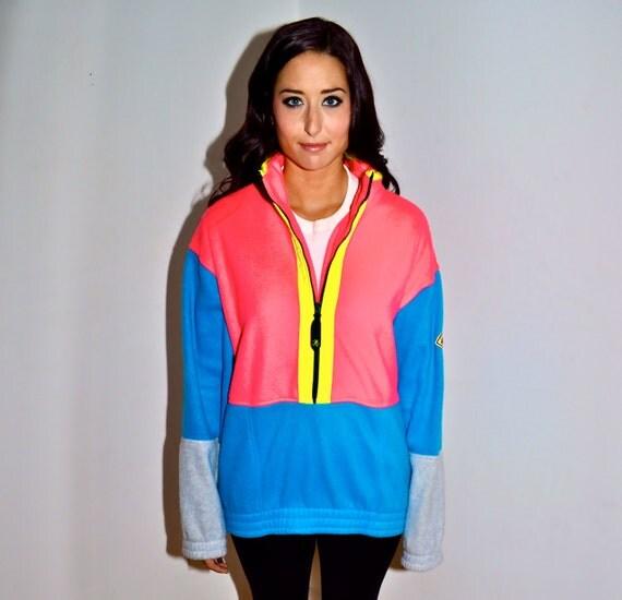 OCEAN PACIFIC Op Vintage Electro Neon Florescent Fleece Pullover Jacket Mens Large L Super Rare Like Hobie and Gotcha