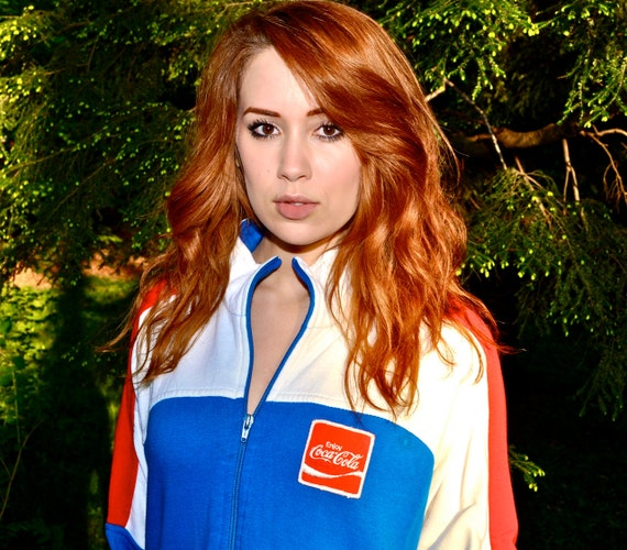 Make an Offer COCA COLA USA Olympics Track Jacket 80s Mens Large L Red White and Blue