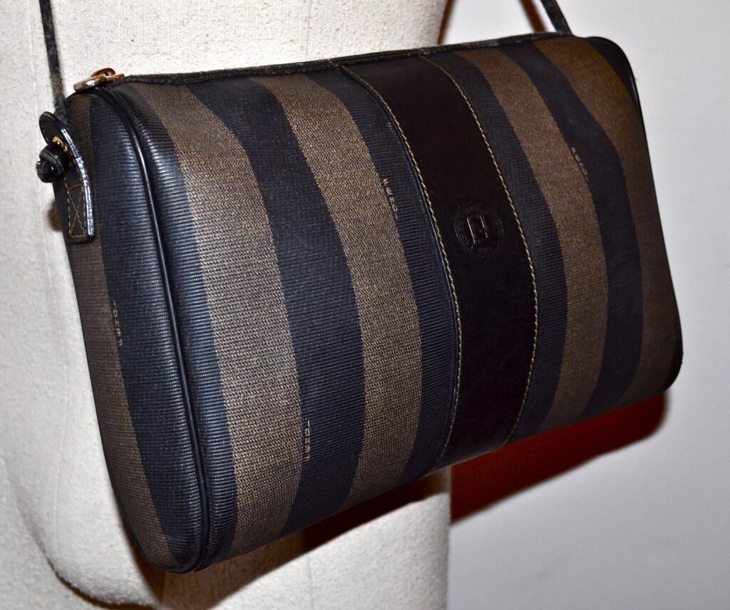 Fendi Vintage 1980s Handbag Clutch Vertical Striped Guaranteed