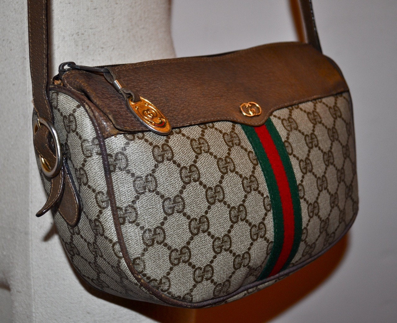 Vintage 80s Gucci Handbag Brown With Red And Green Stripe Gg