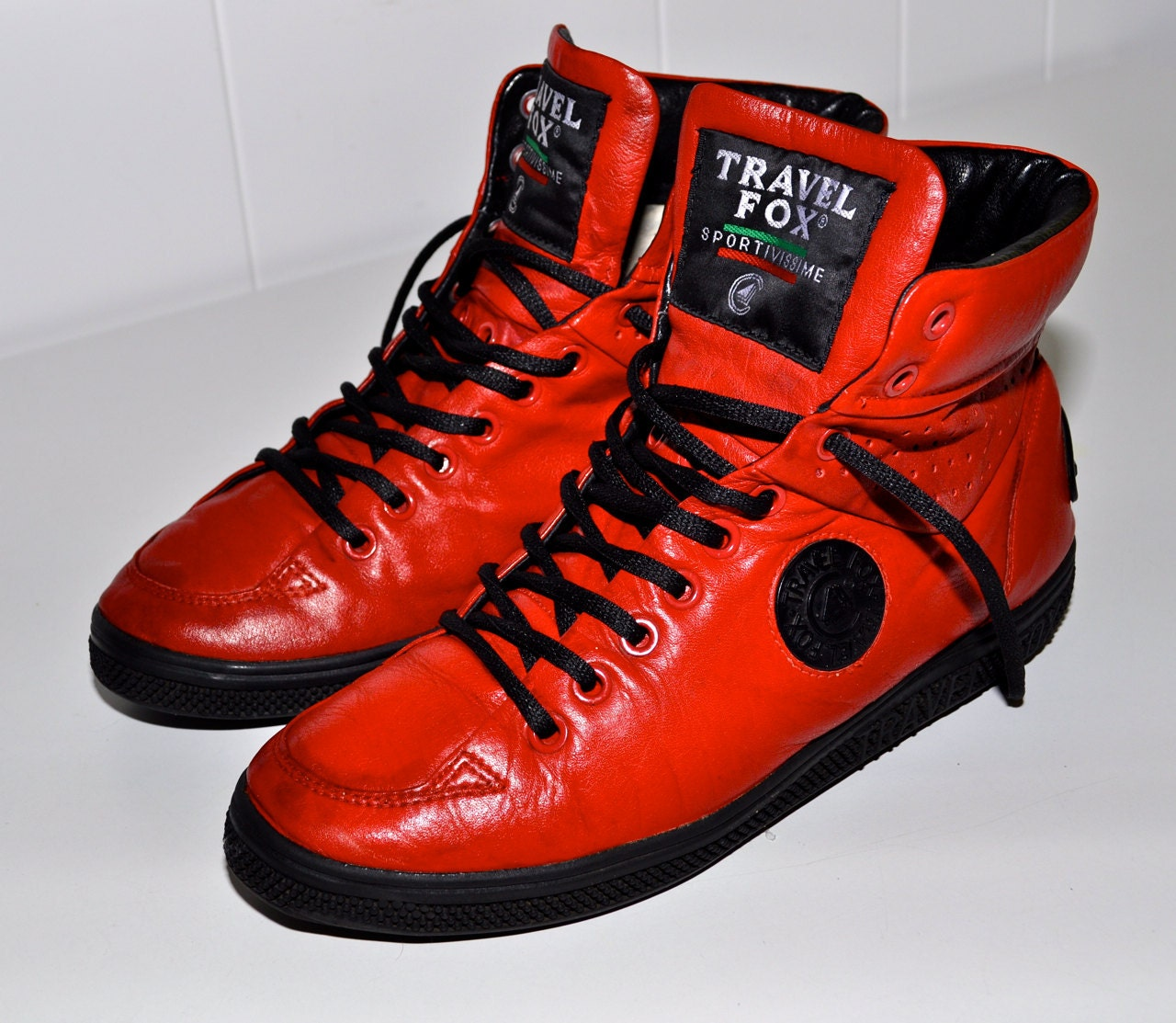 Travel Fox Vintage Red Leather Low Profile European High Top