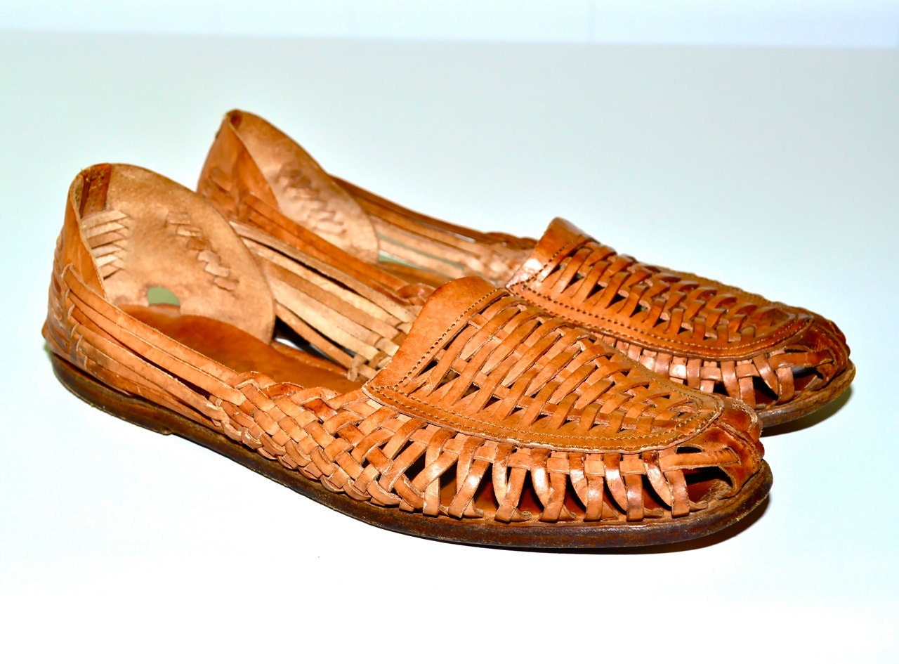 WOVEN LEATHER 1980s Vintage Braided Slip On Leisure Shoes