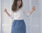 Chambray Denim Drawstring Skirt - Size Small