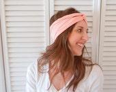 Turban Style Headband - Peach - Twisted Center - FREE SHIPPING