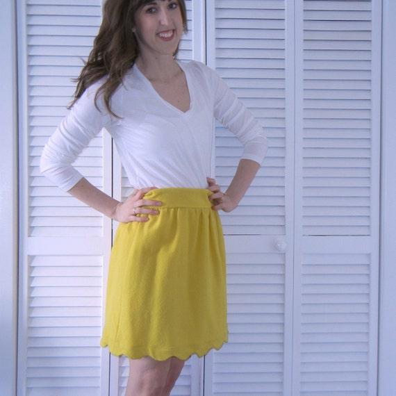 Scallop Hem Wool Skirt - Mustard Yellow