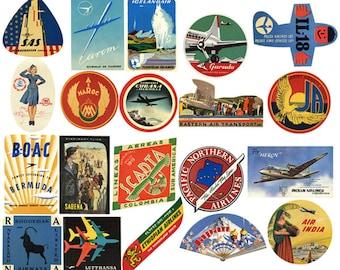 20 Vintage Airline Luggage Labels Air Travel Digital Download Collage Sheets Instant DL baggage printable scrapbooking supply scrapbook