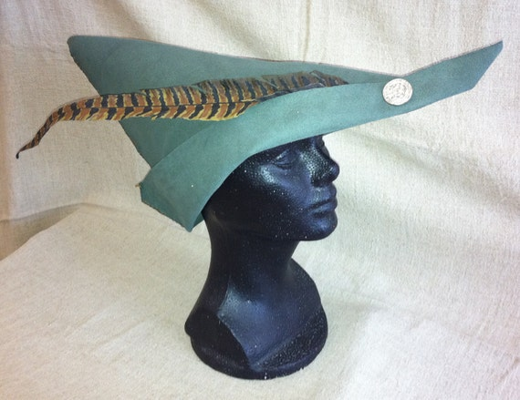 Vegan Medieval Woodsman Robin Hood style Hat Green Faux Leather Faux Pheasant Feather Peter pan Halloween