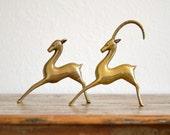 Vintage Regency Brass Antelope Pair