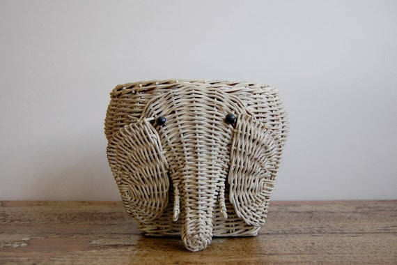 Vintage Weathered Wicker Elephant Basket