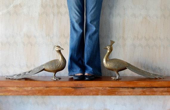 "Extra Large Pair of 22"" Vintage Mid Century Modern Hollywood Regency Brass Peacocks"