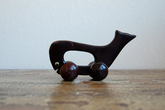 Vintage Wooden Whale Roll Toy Nautical