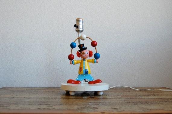 Vintage Wooden 70s Clown Lamp Nightlight
