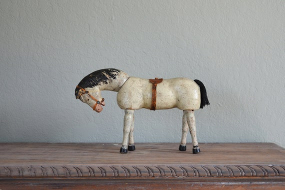 antique wooden white horse