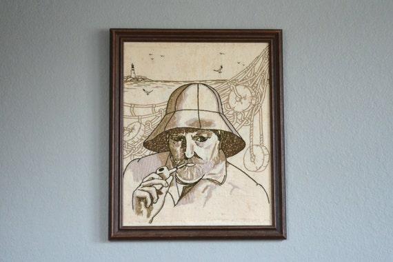 vintage fisherman captain stitched picture
