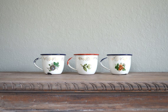 small floral enamel ware cups by Tres of Monterrey Mexico