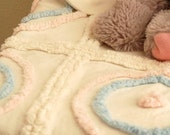 Vintage Chenille Blanket - White, Blue and Pink