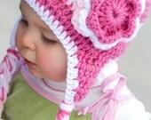 Triple Flower Pink Crochet Hat