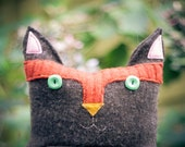 Upcycled recycled wool sweater cat in fall harvest colors