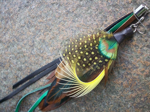one side long feather earring, brown, green, black, and yellow with real leather strips