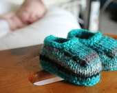 Turquoise and Charcoal Baby Slippers - Size 3-6 Months