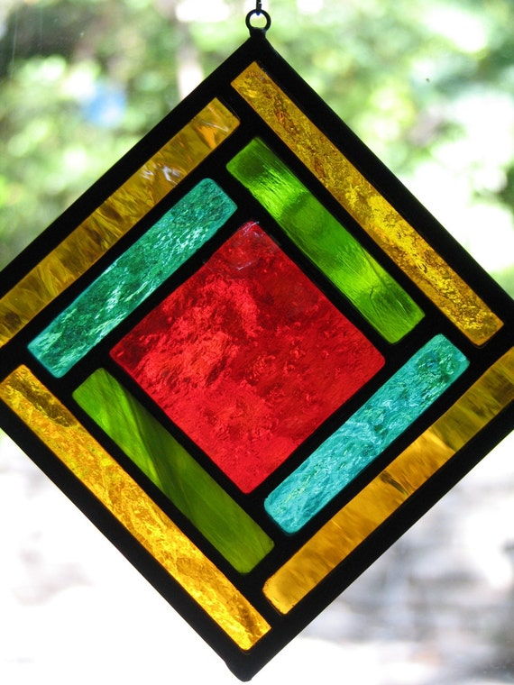 Red Gold and Green Geometric Square Suncatcher