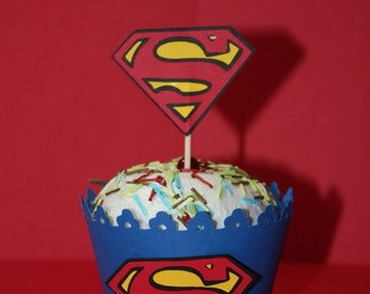 Superman cupcake wrappers set of 12