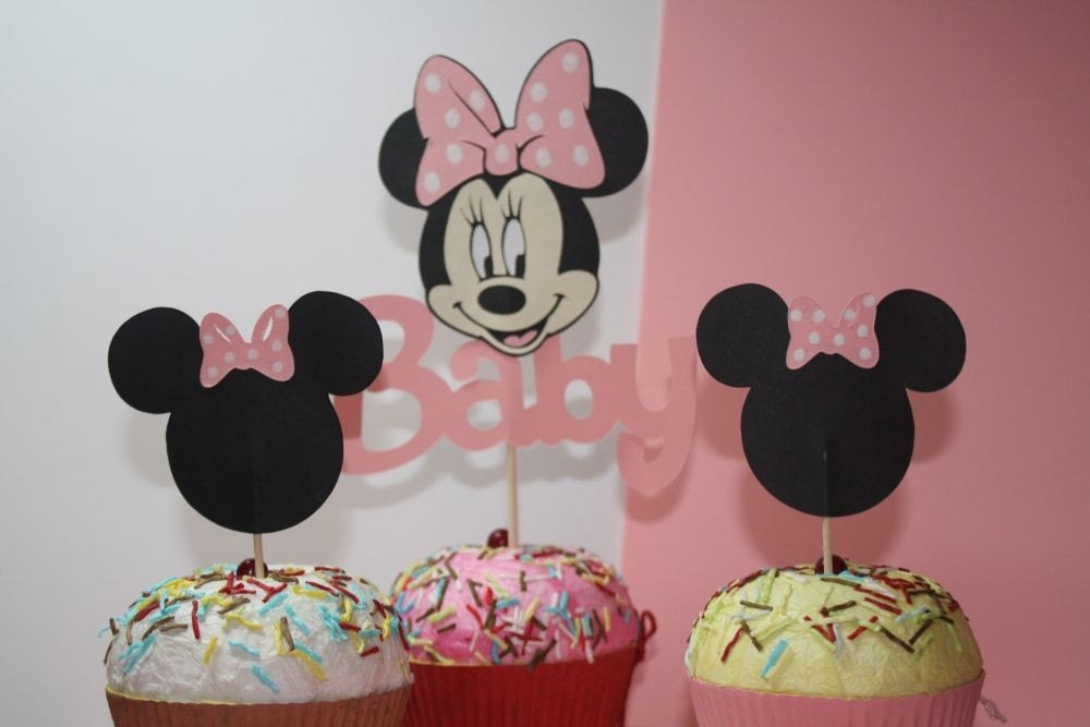 minnie mouse baby shower cupcake toppers by craftygio on etsy