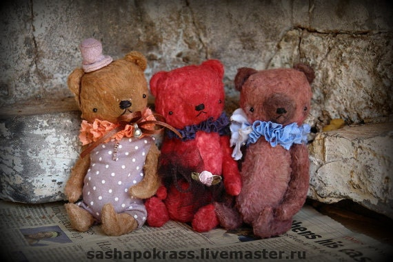 NEW PDF Epattern for 5 inch Pocket Size Miniature Handmade Artist Teddy Bear by Sasha Pokrass