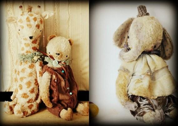SUPER DEAL 3 new PDF E-patterns - Artist Handmade 9 inch Vintage Style Teddy Panda Bear, Clown Elephant and 11 inch Giraffe by Sasha Pokrass