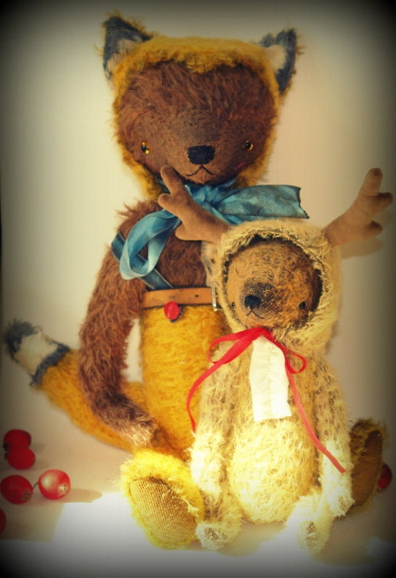 Super Deal 2 PDF Epatterns for 14 inch Artist Mohair Teddy Bear Playing the Fox and 9 inch Bear Playing the Deer by Sasha Pokrass