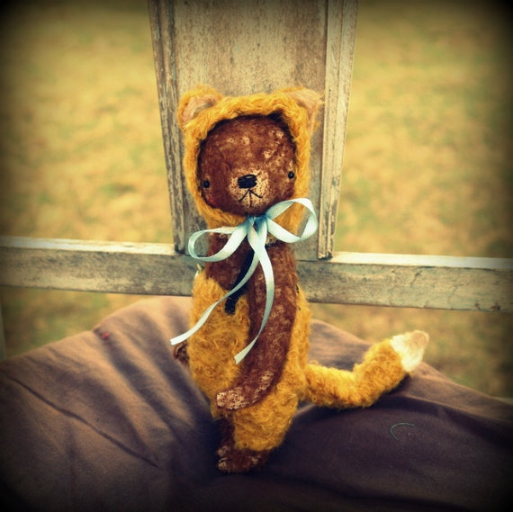 PDF Epattern for 9 inch Handmade Artist Teddy Bear in Fox's pants and cap by Sasha Pokrass